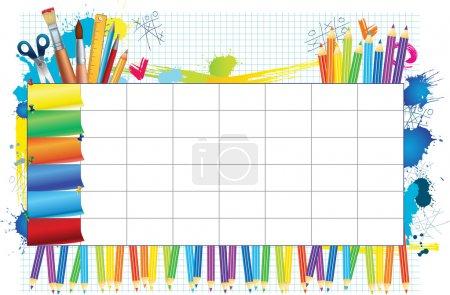 Illustration pour Horaire de couleur avec un espace pour vos notes - image libre de droit