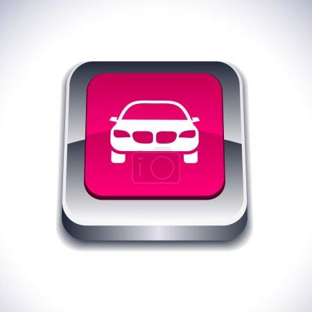 Illustration for Car metallic 3d vibrant square icon. - Royalty Free Image