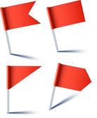 Vector illustration of red pin flags
