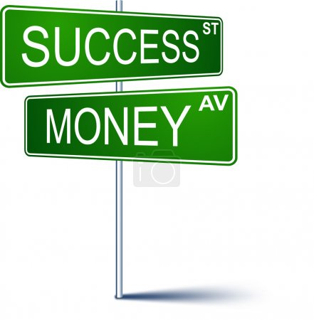 Illustration for Vector direction sign with Success money words. - Royalty Free Image