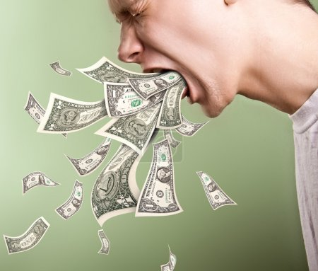 Photo for Vomiting by money - Royalty Free Image