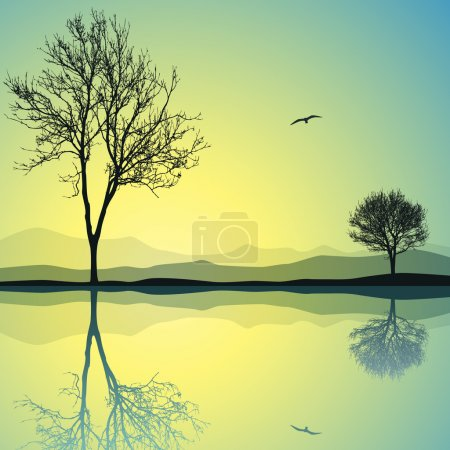 Illustration for A Vector Landscape with Two Trees and Reflection in Water - Royalty Free Image