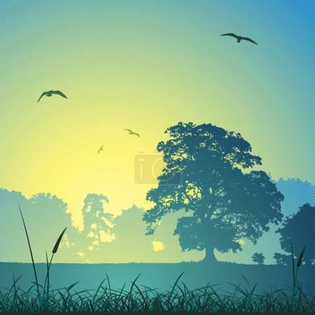 Illustration for A Country Meadow Landscape with Trees and Birds - Royalty Free Image