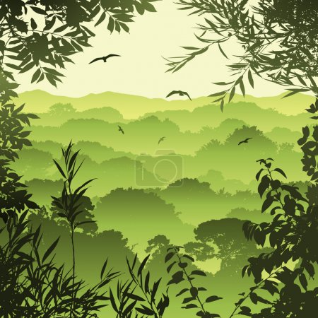 Illustration for A Green Forest Landscape with Trees and Leaves - Royalty Free Image