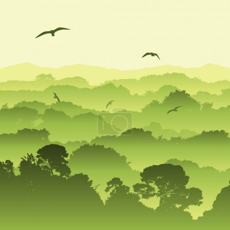 Illustration for A Green Forest Landscape with Trees - Royalty Free Image