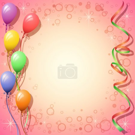 Illustration for Party Background with Balloons and Streamers - Royalty Free Image