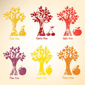 Different trees and fruits