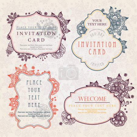 Photo for Invitation cards with a floral pattern - Royalty Free Image