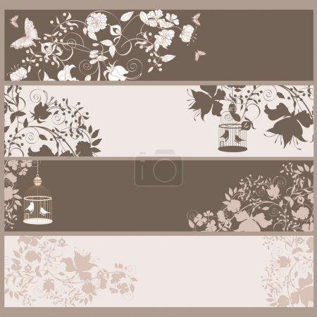 Illustration for Set of 4 vintage horizontal banners flowers and birds in cage. - Royalty Free Image