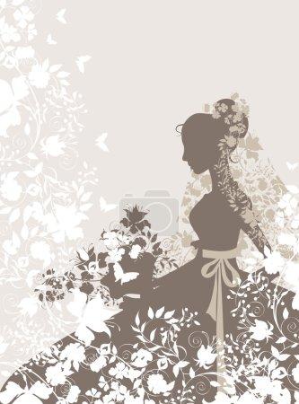 Illustration pour Fond vintage avec des fleurs et la silhouette de la mariée. - image libre de droit