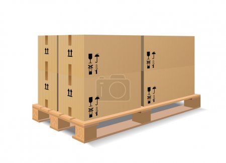 A wooden pallet with boxes