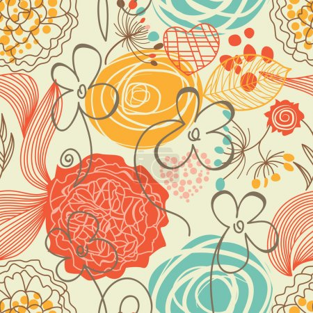 Illustration for Retro floral seamless pattern - Royalty Free Image