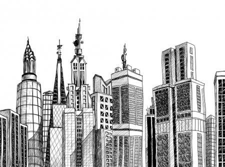 Photo pour Esquisse d'architecture générique urbaine - image libre de droit