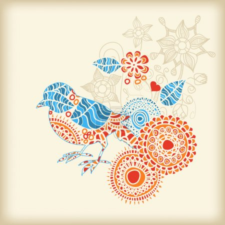 Decorative bird floral background