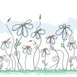 Cute flowers background (seamless pattern)...