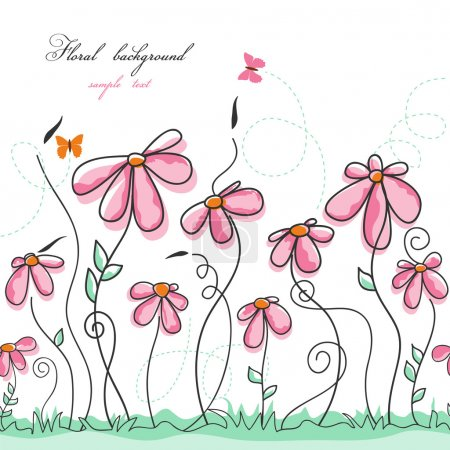 Pink flowers garden with butterflies