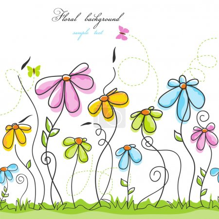 Illustration for Colorful summer floral background - Royalty Free Image