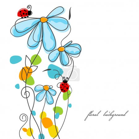 Illustration for Flowers and ladybugs love story - Royalty Free Image