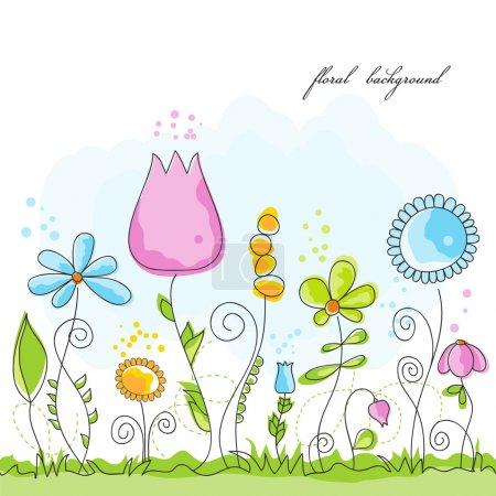 Illustration for Vector summer floral background - Royalty Free Image