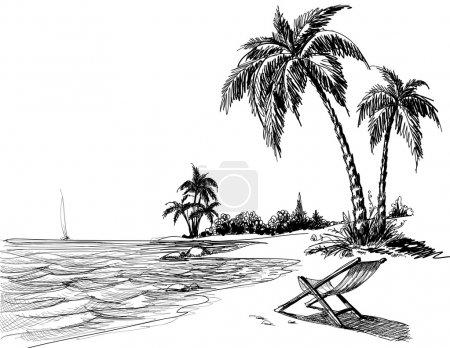 Illustration pour Dessin au crayon plage été - image libre de droit