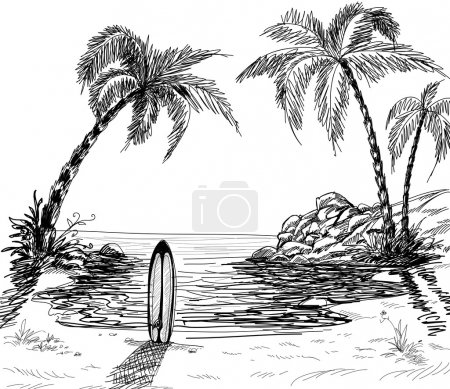 Illustration for Seascape drawing with palm trees and surfboard in the sand - Royalty Free Image
