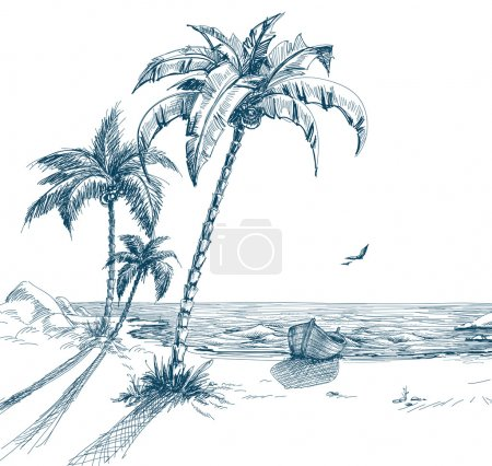 Illustration for Summer beach with palm trees, seagulls and boat on shore; hand drawn vector - Royalty Free Image