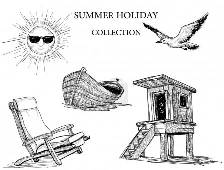 Summer beach collection of drawings