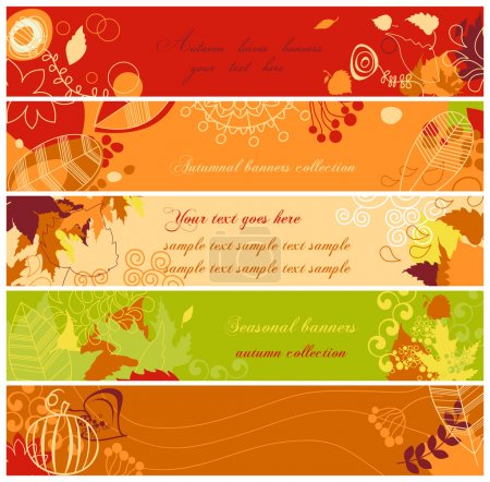 Illustration for Autumn banners set - Royalty Free Image