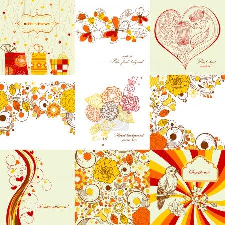 Photo pour Ensemble vectoriel de cartes de vœux aux couleurs automnales - image libre de droit