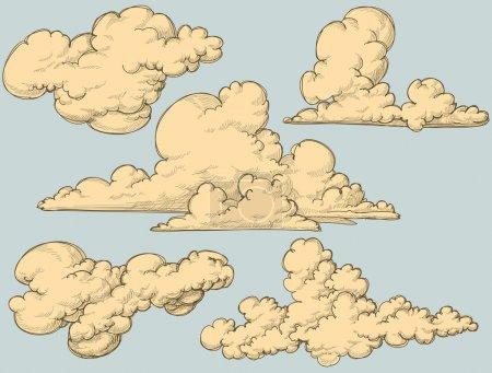 Illustration pour Nuages Vintage - image libre de droit