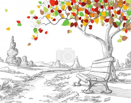 Illustration for Autumn tree, falling leaves - Royalty Free Image