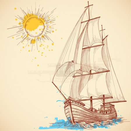 Illustration for Vector sailing boat - Royalty Free Image