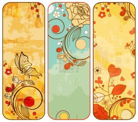 Photo pour Bannières florales en papier vintage - image libre de droit