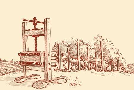 Illustration pour Vignoble et vieille illustration vectorielle de presse en bois - image libre de droit