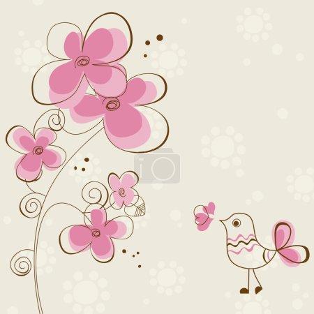Illustration pour Carte de vœux romantique avec fleurs et oiseau mignon - image libre de droit