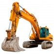 Yellow Excavator isolated on white...