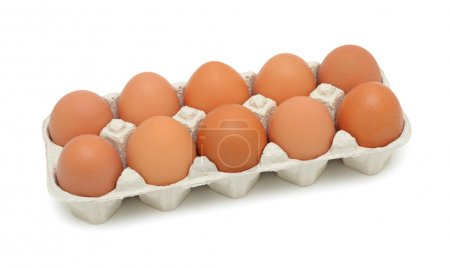 Photo for Fresh brown eggs in box, isolated on a white background - Royalty Free Image