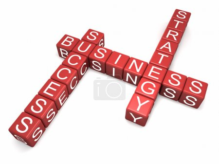 Photo pour Cubes rouges avec lettres disposées en trois mots - stratégie commerciale et succès, fond blanc, rendu 3D - image libre de droit