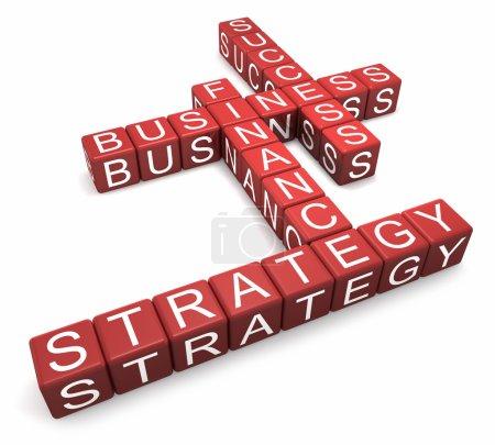 Photo pour Cubes rouges avec lettres arrangées en mots affaires, stratégie, finance et succès, fond blanc, rendu 3d - image libre de droit