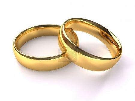 Photo pour Deux anneaux d'or empilés l'un sur l'autre, rendu 3d - image libre de droit