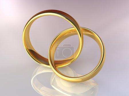 Photo pour Deux anneaux d'or reliés entre eux, anneaux laqués, rendu 3d - image libre de droit