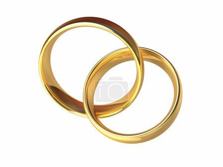 Photo pour Deux anneaux d'or reliés entre eux, anneaux laqués, fond blanc isolé, rendu 3d - image libre de droit