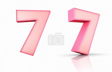 Photo pour 3d rose numéro sept, isolé sur fond blanc, 7 - image libre de droit
