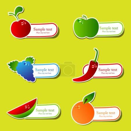 Illustration pour Ensemble d'autocollants de fruits vectoriels - image libre de droit