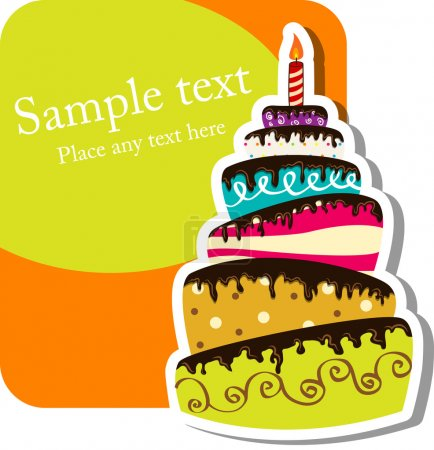 Photo for Vector picture with birthday cake - Royalty Free Image