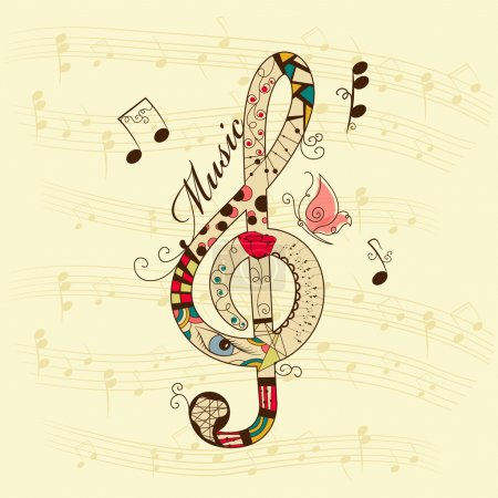 Illustration for Vector musical background with treble clef - Royalty Free Image