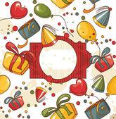 Abstract cute happy birthday card vector illustration