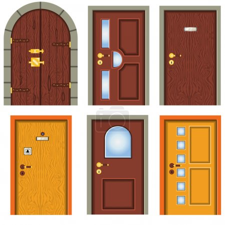 Illustration for Collection of six different detailed door illustration images. - Royalty Free Image