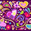 Colorful doodle with hearts and flowers...