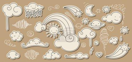 Illustration pour Mignon doodle des éléments du ciel : soleil, lune, nuages, étoiles, arc-en-ciel . - image libre de droit